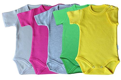Kurzarm-Babybodys 5er Pack weiss, rosa, grau, grün & gelb Grösse 80 Body Unisex aus 100% Baumwolle mit Druckknöpfen