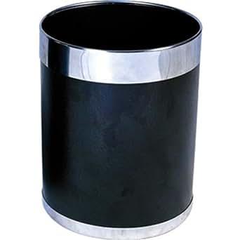 Bolero Y805 Waste Paper Bin with Silver Rim, 10.2 L, Black