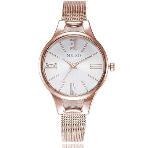 gaddrt Uhren, MEIBO Frauen Lässiger Quarz Rostfrei Stahl Newv Strap Uhr analoge Armbanduhr (Roségold)