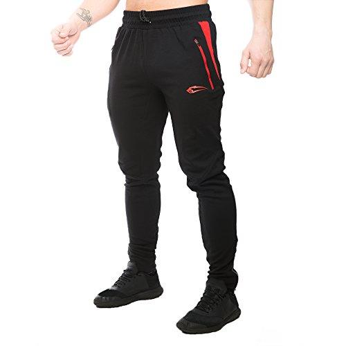 SMILODOX Regular Fit Jogginghose Herren | Trainingshose für Sport Fitness Gym Training & Freizeit | Sporthose - Jogger Pants - Sweatpants Hosen - Freizeithose Lang, Farbe:Schwarz/Rot, Größe:S (Fit-anzug)