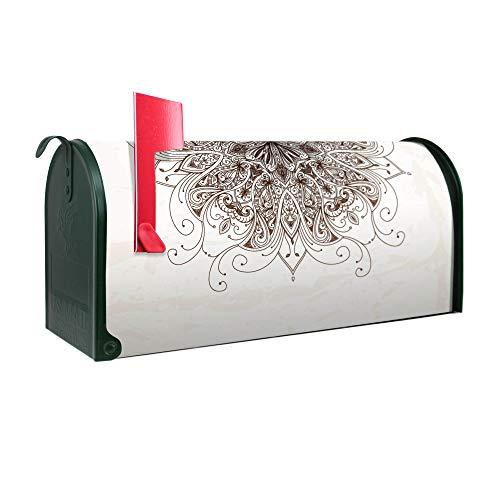BANJADO US Mailbox | Amerikanischer Briefkasten 51x22x17cm | Letterbox Stahl Grün | mit Motiv Mehendi -
