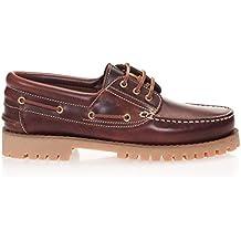 Castellanísimos C01104 Zapatos Náuticos Hombre Piel Con Cordones Color Marron