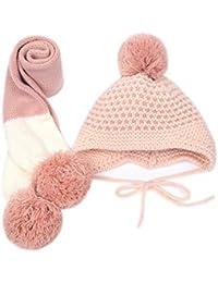71db3185a887 Hosaire Ensemble Echarpe Bonnet Enfants Hiver Chapeau Bébé Tricoté Bonnet  Foulard Crochet Béret Casquette pour Enfants