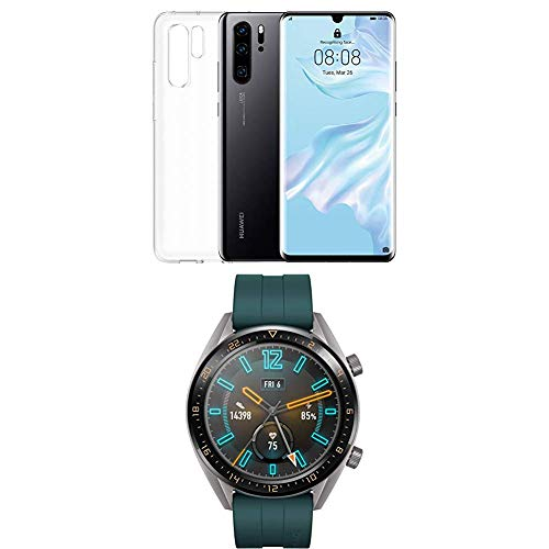 Huawei P30 Pro (Black) più cover trasparente + Huawei Watch GT Active Smartwatch, Verde Scuro