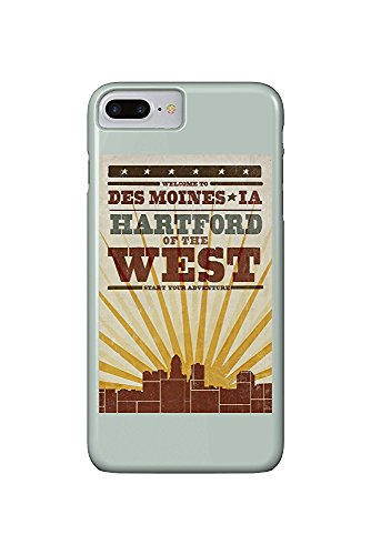 Des Moines, Iowa - Skyline and Sunburst Screenprint Style (iPhone 7 Plus Cell Phone Case, Slim Barely There) (Des Moines Skyline)