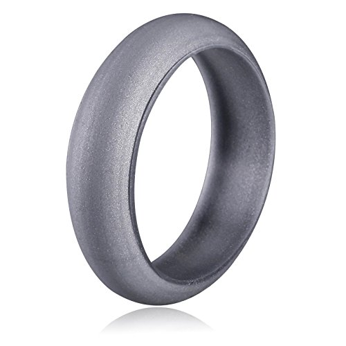 Amdxd Women Wedding Bands Round Edges Silicone Wedding Rings Silver