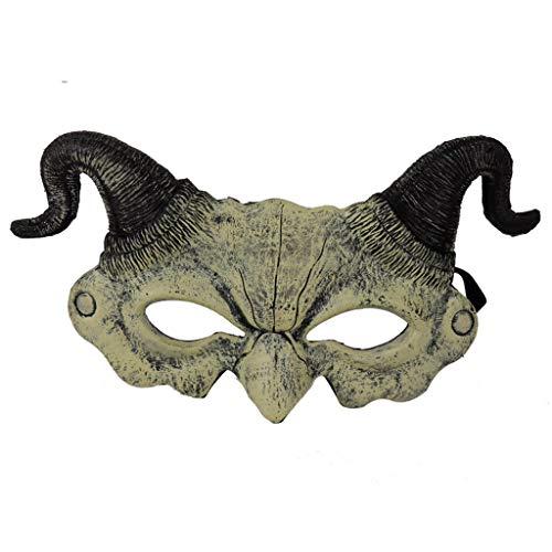 SilenceID Gruseltier Halloween Maske Half Face Horn Dämonen Maske Cosplay Halloween Kostüm Venezianische Karneval Masken (Sexy Chucky Kostüm Für Erwachsene)