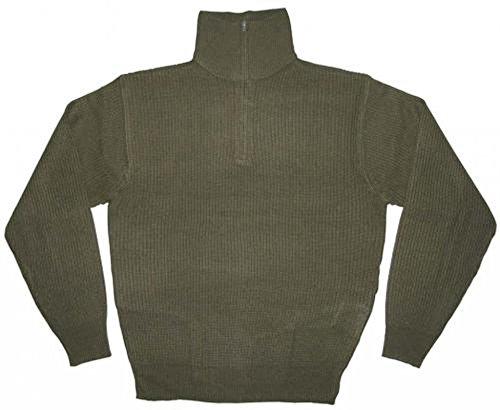 Troyer Pullover aus Acryl mit Reißverschluss und Kragen Oliv oder Blau Größen S-XXXL (M, Oliv) (Jagd-shirt Moleskin)