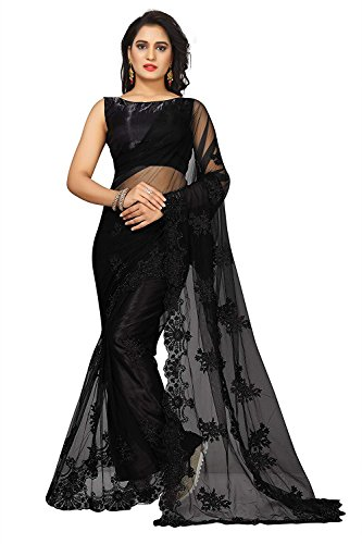 Surat Creations Designer Black Net Saree with Embroidery And Pearl Work