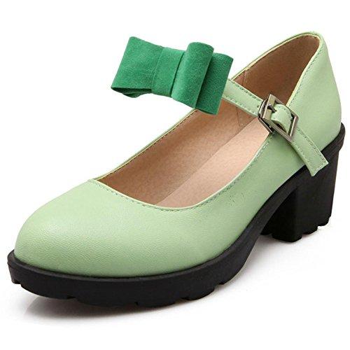 COOLCEPT Femme Mode Sangle de Cheville Chaussures Basse Bout Ferme Escarpins Bloc Talon Moyen Chaussures Avec Bow Vert