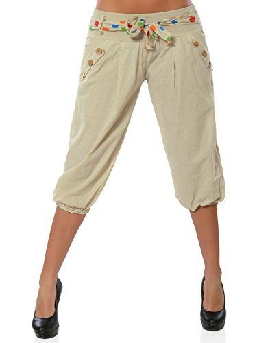 Damen Capri Hose Kurze Sommerhose Stoffhose Freizeithose No 15878, Farbe:Beige, Größe:S/36