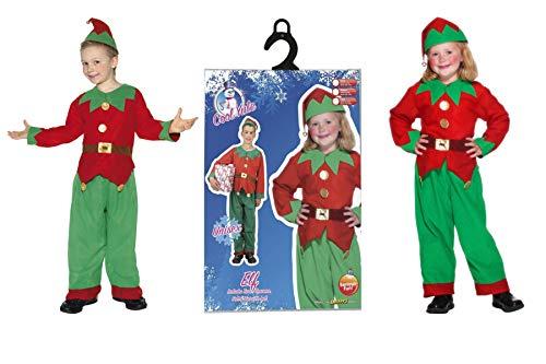 Fancy Dress World Childrens Kids Boys Girls - Christmas Santa Elf Little Helper Fancy Dress Costume - Tunic Trousers & Hat 24507 (Unisex UK Small Ages ()