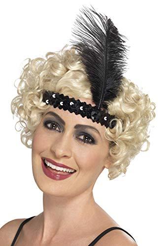 (Smiffys Damen Flapper Stirnband mit Feder, One Size, Schwarz, 44662)