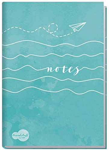 Notizbuch A5 liniert [Wellenlänge] von Trendstuff by Häfft   als Tagebuch, Bullet Journal, Ideenbuch, Schreibheft   stylish, robust, biegsam, abwischbares Cover