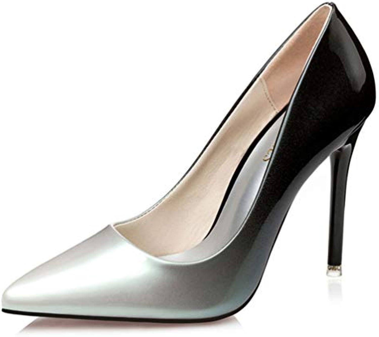 JRenok Femmes Pompes Mode Gradient Couleur Haut Talons Simple en Chaussures Femme Printemps été en Simple Cuir de Mariage...B07GXHJVK9Parent c4430f