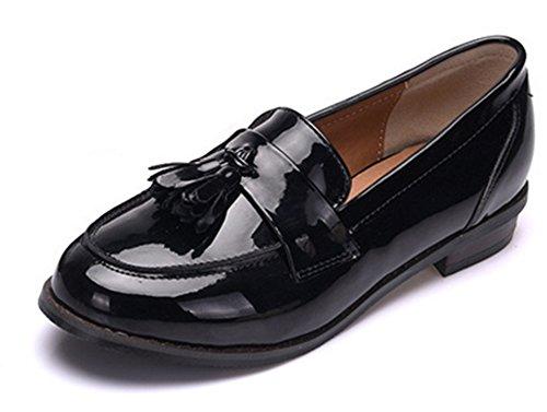 Aisun-Damen-Oxford-Lackleder-Troddel-Runde-Zehe-Loafers-Mit-niedrigem-Blockabsatz-Schwarz-38-EU