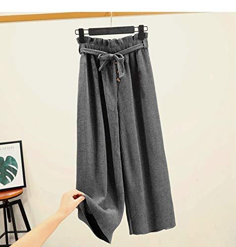KTKZSS Plissee Wide Legs Pants Elastische Taille Freizeithose Weibliches Objekt Stricken Wide Leg Pants Wohlfühlen Casual Pant One Size Grey -