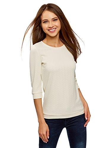 oodji Ultra Damen Sweatshirt mit Rundem Ausschnitt und 3/4-Arm, Elfenbein, DE 40 / EU 42 / L -
