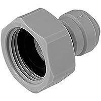 "VYAIR-DMfit - Adaptador hembra (extremo plano, 3/8 pulgadas, tubo de empuje O.D. a rosca BSP de 3/4"" (repuesto compatible para John Guest Speedfit CI321216FS) para dispensadores de filtro de agua y ósmosis inversa (1)"