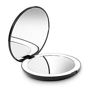 Fancii Tragbarer Taschenspiegel Zweiseitiger Schminkspiegel mit LED Beleuchtung, 1X / 10X Vergrößerung - Kompakt, Klappbarer, Große 13cm Reisespiegel Beleuchtet für Kosmetik Unterwegs (Schwarz)