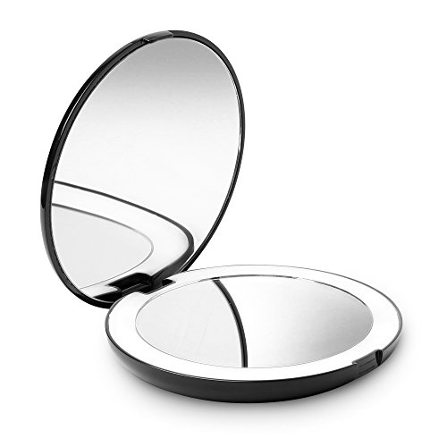 Fancii LED Lighted Travel Makeup Mirror, 1X/10X Magnification - Daylight Led, Compact, Portable, Large 130mm Wide Illuminated Mirror (Black)