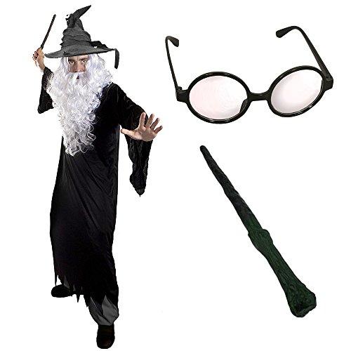 erer HEXER Verkleidung KOSTÜM MAGISCH mit Brille +Hut +Zauberstab= Alle Set BEINHALTETEN PERÜCKE + Bart =Fasching+Karneval = Verschiedene HÜTE =XXXLarge-Grauer Hut ()