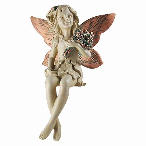 Forest Fairy Kantenhocker mit Bouquet Kupfer geflügelten weiß Figur Skulptur Art Deco Girl Garden Home Decor Geschenk 19