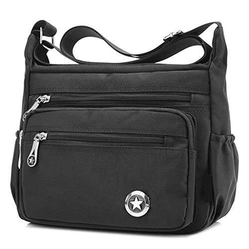 Lässige Umhängetasche für Damen, wasserdicht, aus Nylon, Messenger-Tasche, Schwarz - schwarz - Größe: Small