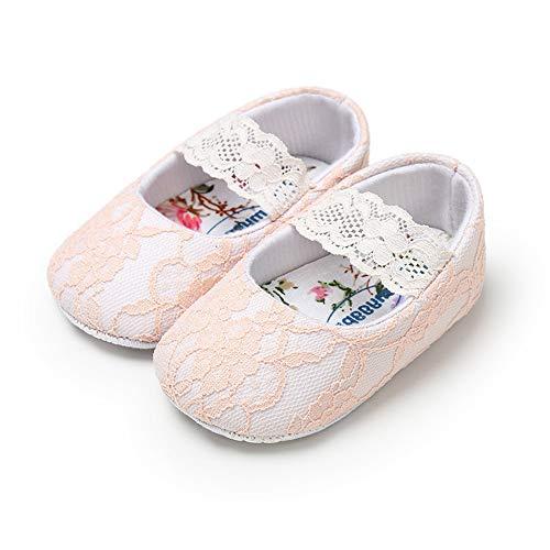Lacofia Baby Mädchen Prinzessin Taufschuhe Kleinkind Rutschfest Weiche Sohle Krabbelschuhe Rosa 12-18 Monate