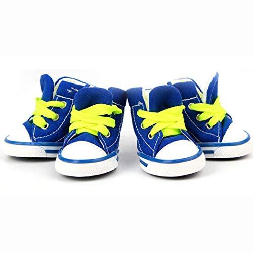 AMURAO Haustier Leinwand Stiefel Candy Farbe Welpen rutschfeste Kausal Hund Schuhe schnüren Outdoor Booties Sneaker Paw Protector -