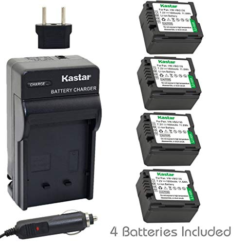 Kastar Battery (4-Pack) and Charger Kit for Panasonic Vw-Vbg130 Work with Panasonic Lumix Dmc-L10, Hdc-Hs250, Hdc-Hs300, Hdc-Hs700, Hdc-Sd10, Hdc-Sd600, Hdc-Sd700, Hdc-Sd