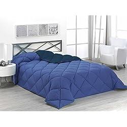 SABANALIA Edredón nórdico de 400 g, bicolor, cama de 90 cm, color azul y marino