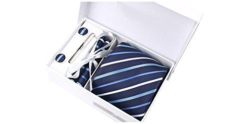 Coffret Acapulco - Cravate bleu marine à rayures blanches, bleu ciel et bleu lagon, boutons de manchette, pince à cravate, pochette de costume
