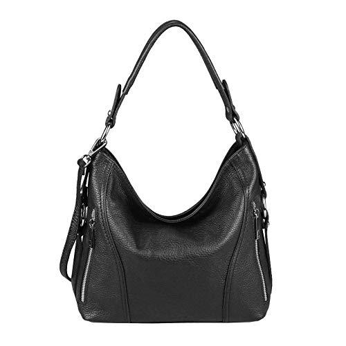 Made in Italy Damen Tasche Shopper Henkeltasche Umhängetasche Tasche City Bag Schultertasche Crossover (Schwarz) -