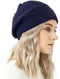 Damen Geflochten Strickmütze Baskenmütze Ski Ball Cap Baggy Winter Mütze Neu PD