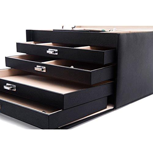 Songmics Schmuckkasten abschließbar mit Spiegel 5 Ebenen 4 Schubladen JBC001 -