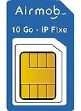 AIRMOB Carte SIM prépayée 1 Mois pour IoT. 10Go IP publique Fixe. Couverture France métropolitaine. Idéal domotique, alarmes, télémétrie.