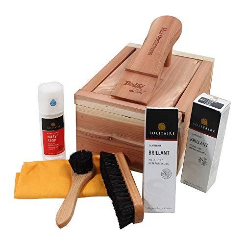 Delfa Schuhpflege Kiste aus Zedernholz mit Laserung Name/Wunschtext, jetzt neu mit Solitaire Pflegemitteln