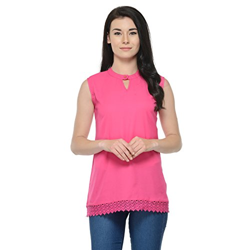 Mijaat Creations Dede's Pink Colour Poly Crepe Regular Top with buttoned neck. SIZE-XS