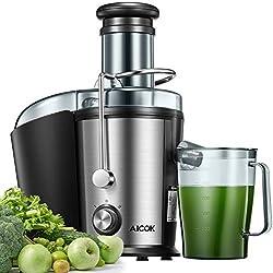Centrifugeuse Extracteur de Jus, Aicok 800W Centrifugeuse avec 75MM Large Bouche pour Fruits et Légumes, Acier Inoxydable de Qualité Alimentaire, Anti-Goutte, Silencieux et Antidérapants, Sans BPA
