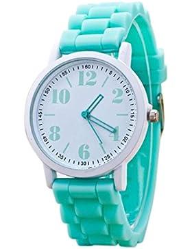 FEITONG Mode Damenuhr Sport Silikon Band Quarz Uhren Armbanduhr Minzgrün