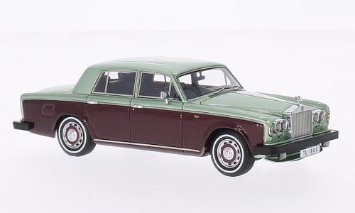 rolls-royce-silver-shadow-ii-met-hell-grun-mtl-dkl-rot-rhd-1978-modellauto-fertigmodell-neo-143