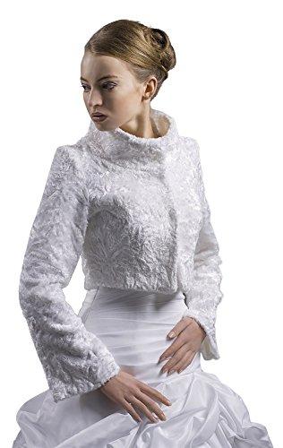 MGT-shop sposa Bolero Cape sposa general-case pelliccia di pecora in bianco, nero, sinlook, colore avorio o di nero