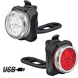 AUERVO LED Fahrradlicht Set, USB Wiederaufladbar Wasserdicht Fahrradbeleuchtung mit 4 Licht-Modi Frontlicht und Rücklicht für Radfahren