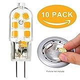 10-Packs Bombillas LED G4 12v 2W Equivalente a Lámpara Halógena 10W 20W Blanco Cálido 3000K 200LM DC/AC, Non-Regulable