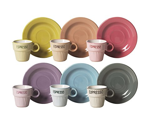 Color Life Set Taza De Cafe con Plato 6 Piezas Vintage Multicolor