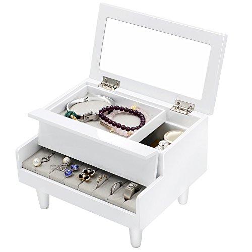 Love-KANKEI® Schmuckkasten Schmuckschatulle Schmuckkoffer in Klavier Design mit Innenspiegel, Weiss, ( Ideales Weihnachtsgeschenk)