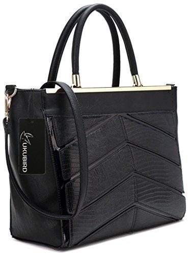 Kukubird Ladies In Pelle Di Design Stile Coccodrillo Texture Dettaglio Grande Tote Bag Shoulder Satchel Handbag Nero
