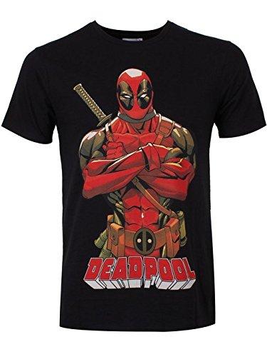 Deadpool Herren Deadpool Pose Short Sleeve T-Shirt, schwarz, X-Large (Short Sleeve Dead T-shirt)
