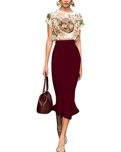 Moollyfox Femme Celebrity Inspiré Taille Haute Extensible en Bodycon Jupe Crayon Rouge